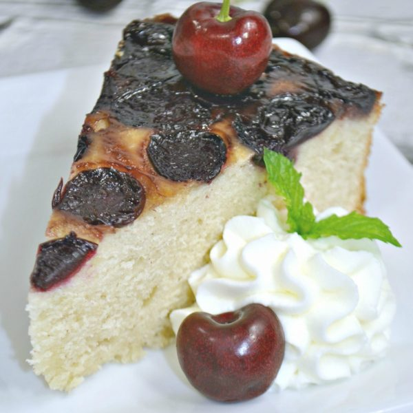 Cherry Upside Down Cake with Homemade Whipped Cream