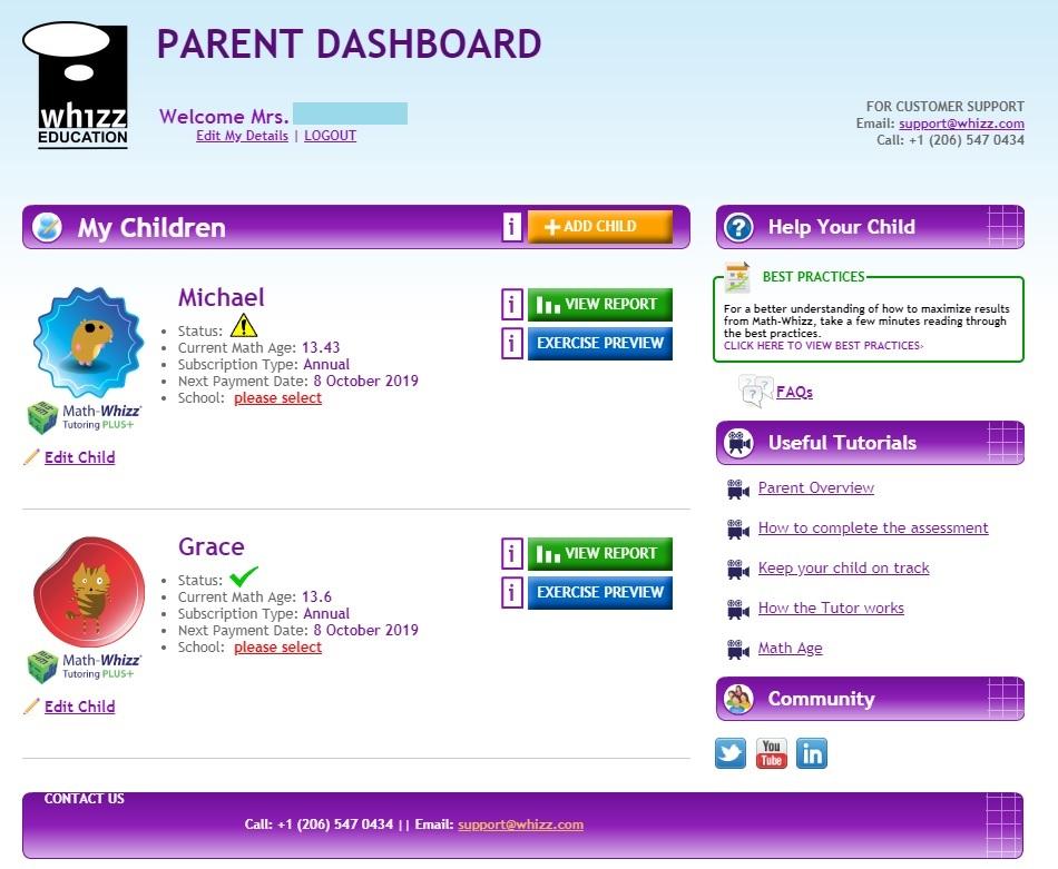 Math Whizz Parent Dashboard