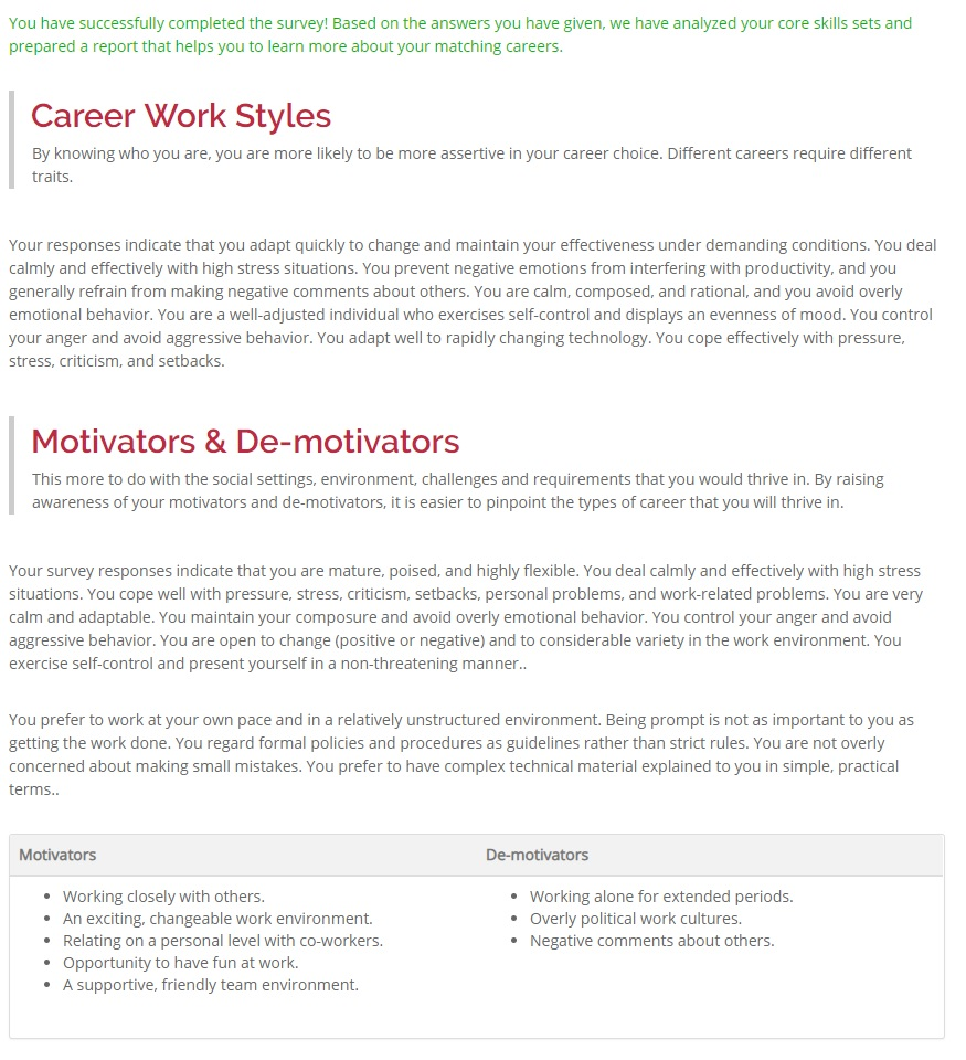 CrashCrunch Careers Work Styles Results