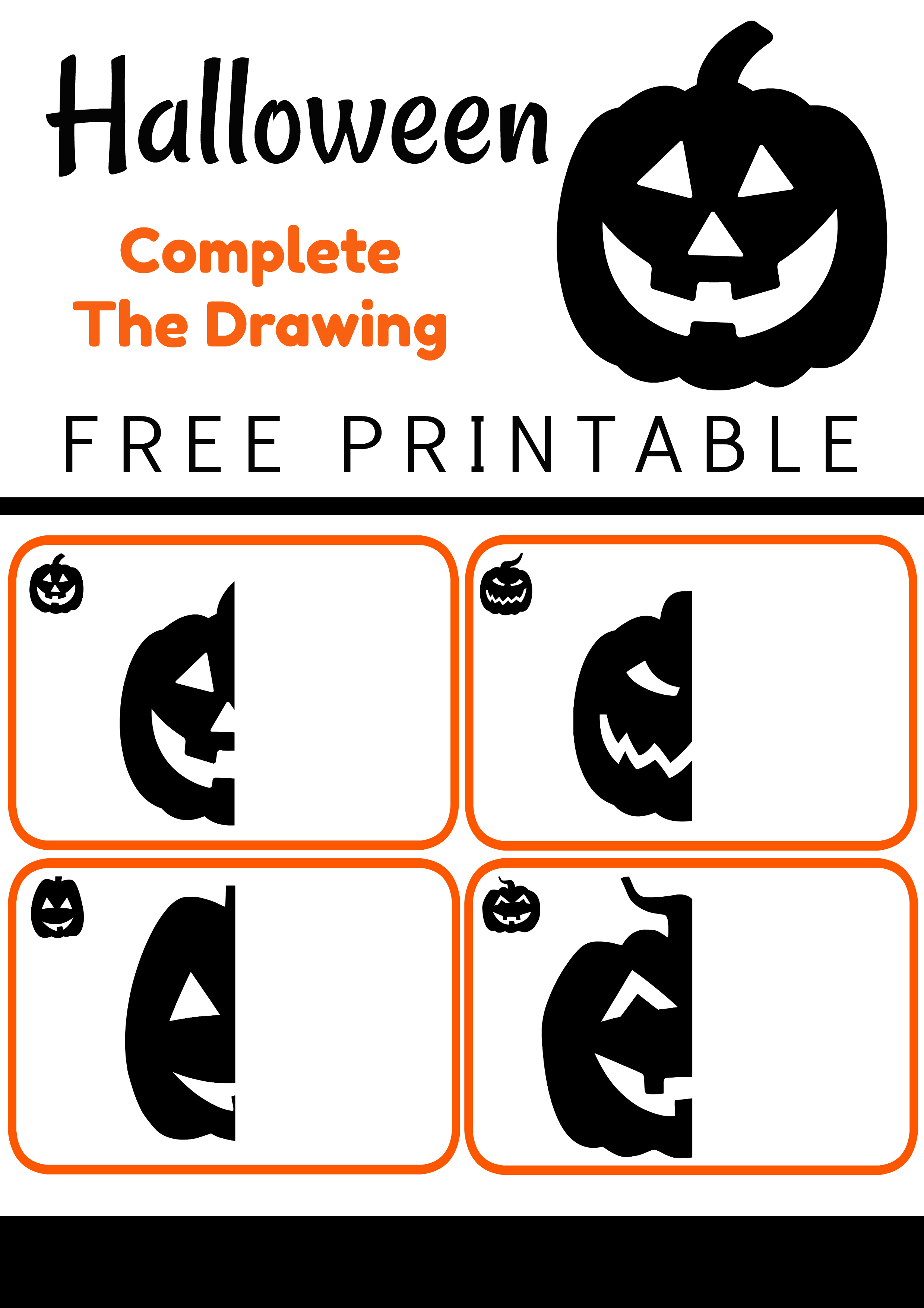 Free Halloween Printable Complete the Drawing Jack O Lanterns