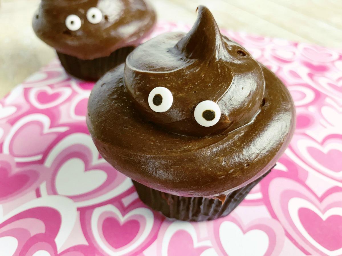 Love Stinks Poop Emoji Cupcakes closeup