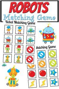 Robots Matching Game Free Printable