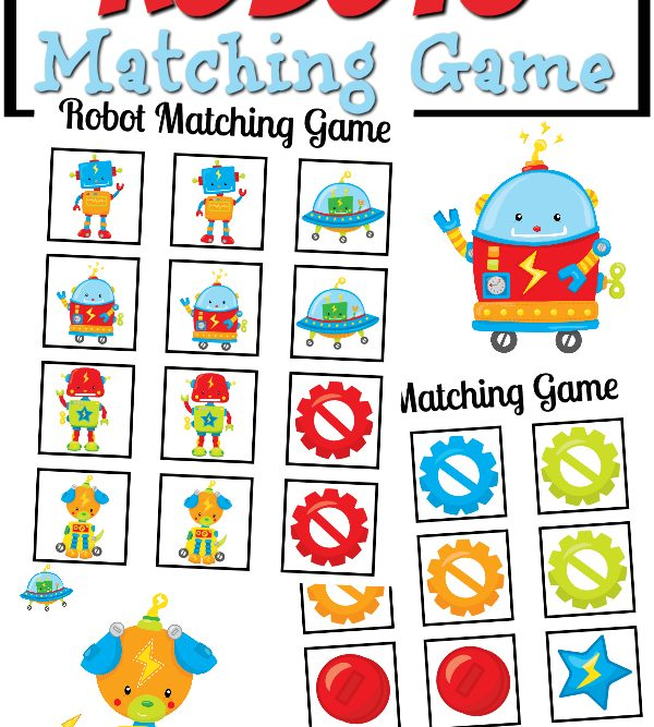 Robots Matching Game Free Printable
