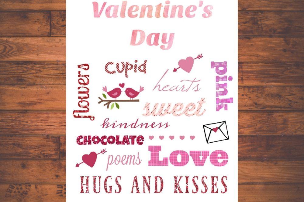 Valentine's Day Word Art Printable