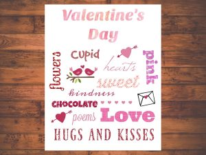 Valentine's Day Word Art Printable