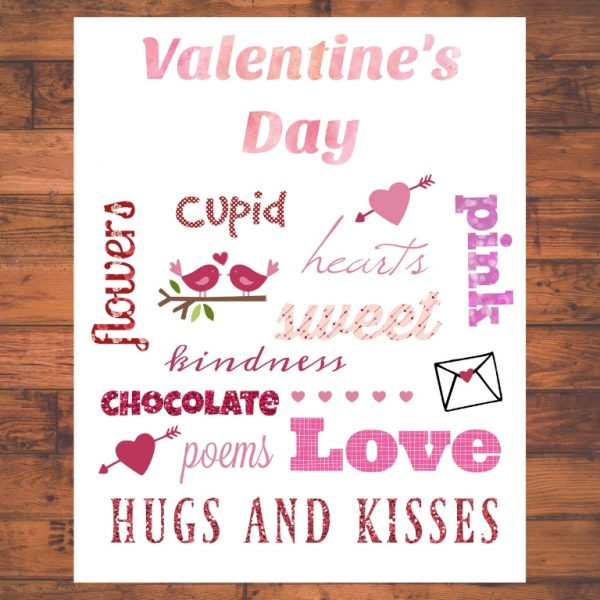 Valentine's Day Word Art FREE Printable