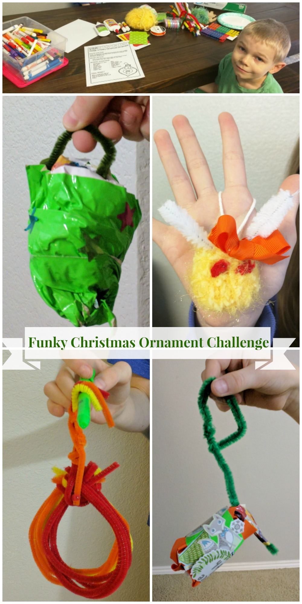 Funky Christmas Ornament Challenge from Tied 2 Teaching STEM Activities