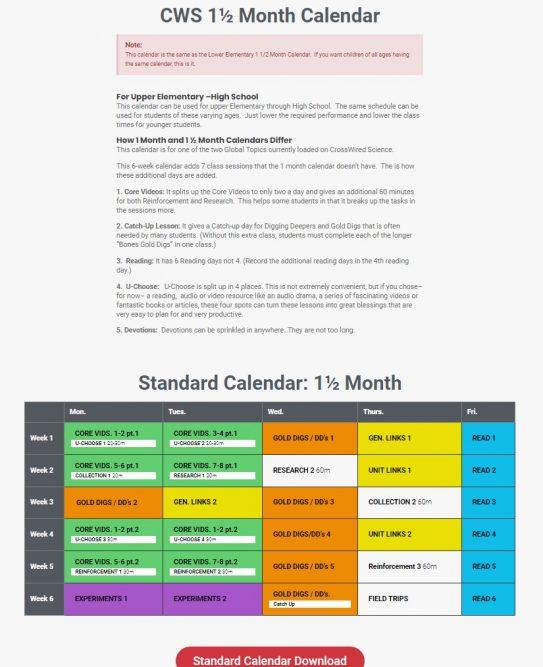CrossWired Science Calendar