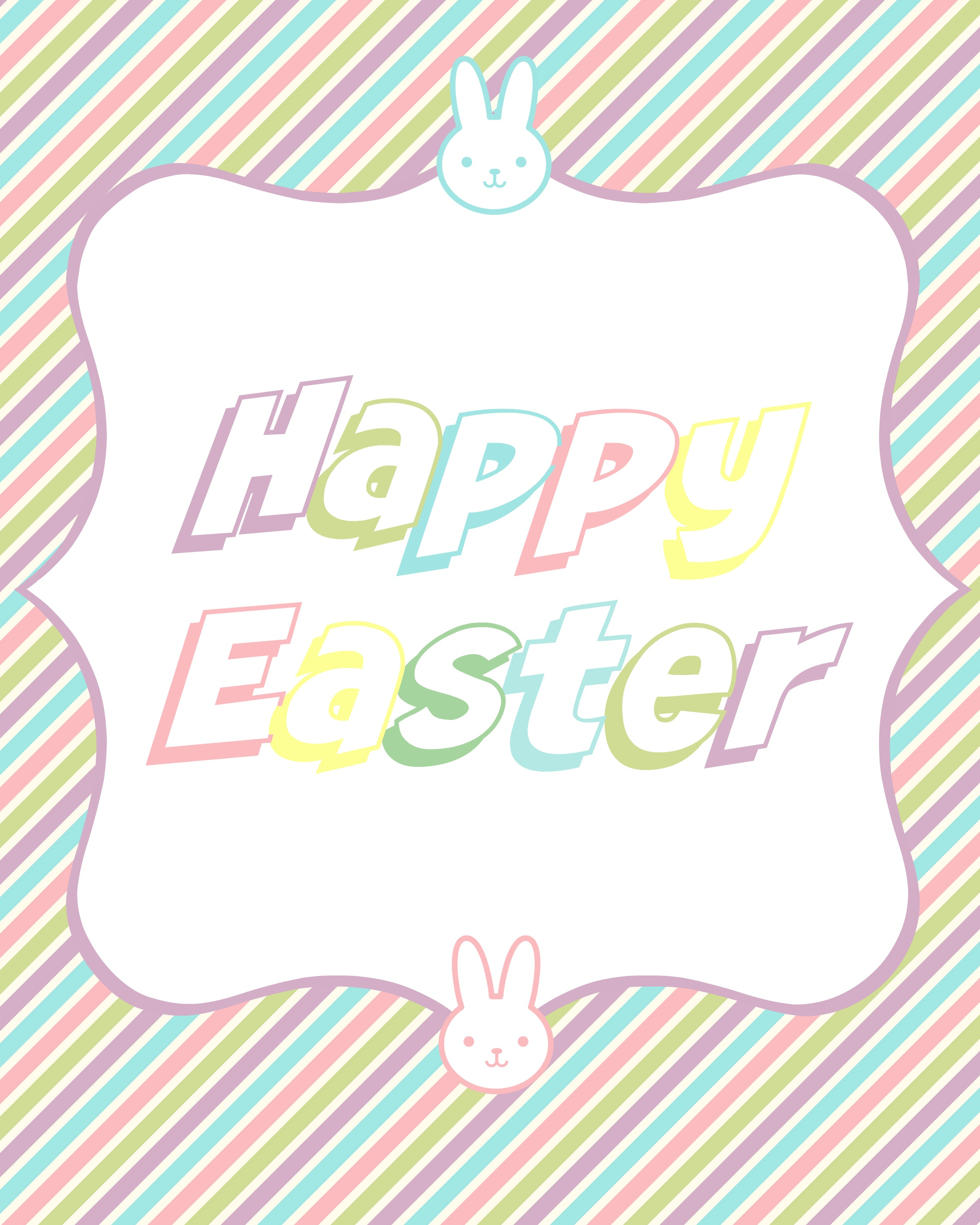 Colorful Bunny Happy Easter Printable