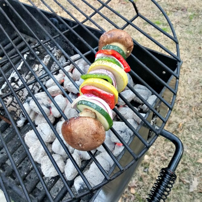 Grilled Veggie Kabobs on the grill - great for camping