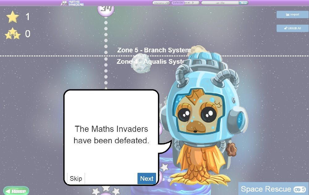 Maths Invaders Online Completed Screen