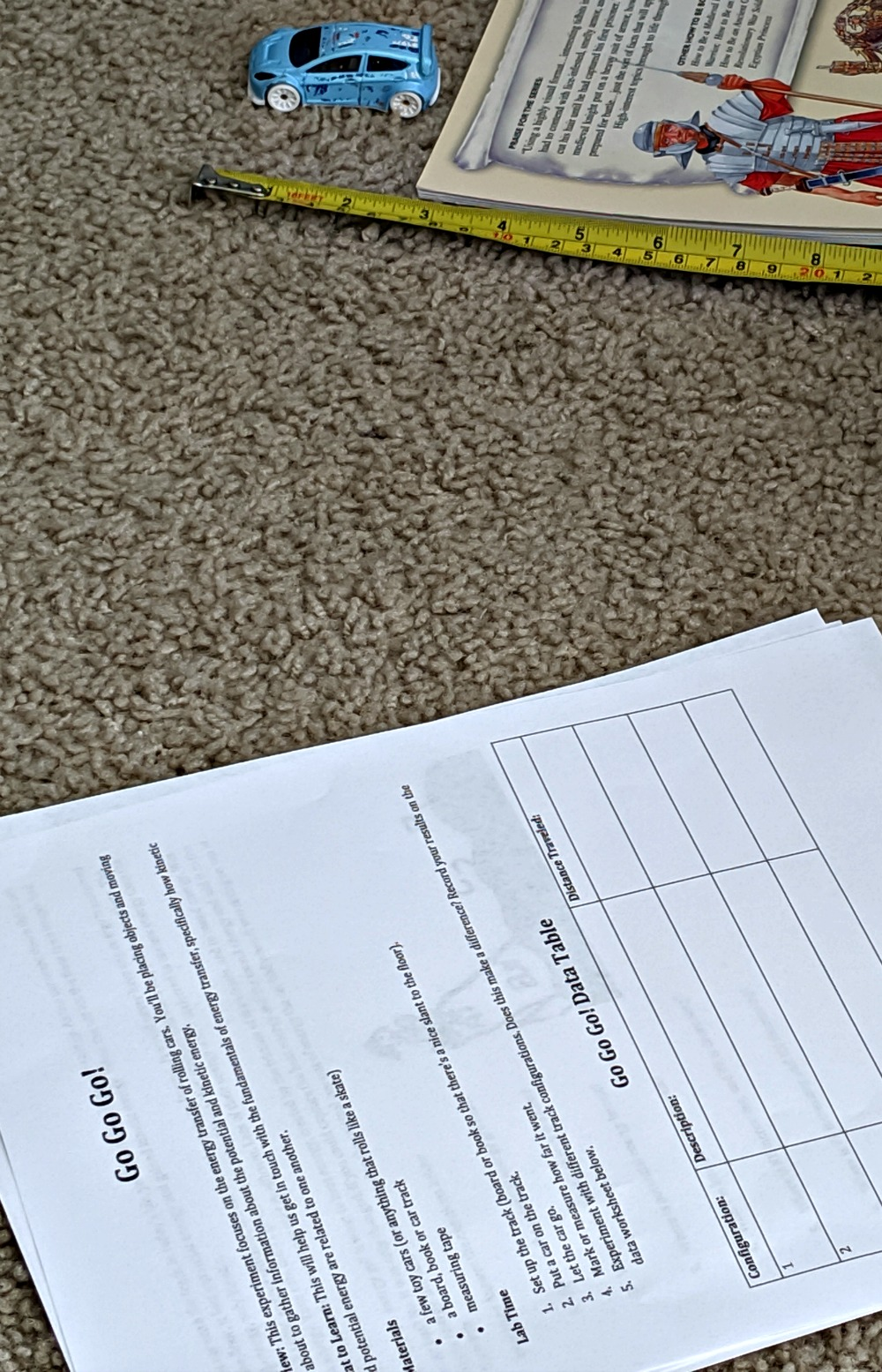 Supercharged Science Kinetic Energy experiment worksheets and measurements