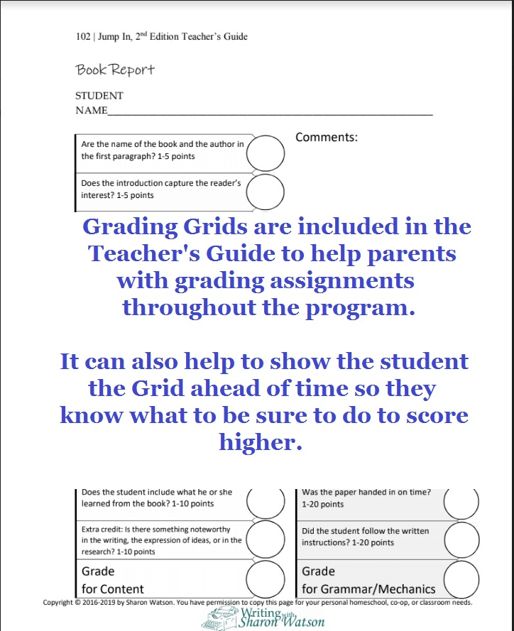 Jump In Middle School Composition Grading Grids