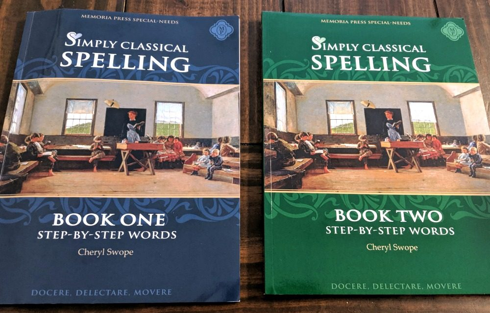 Memoria Press Simply Classical Spelling Book One and Book Two by Cheryl Swope