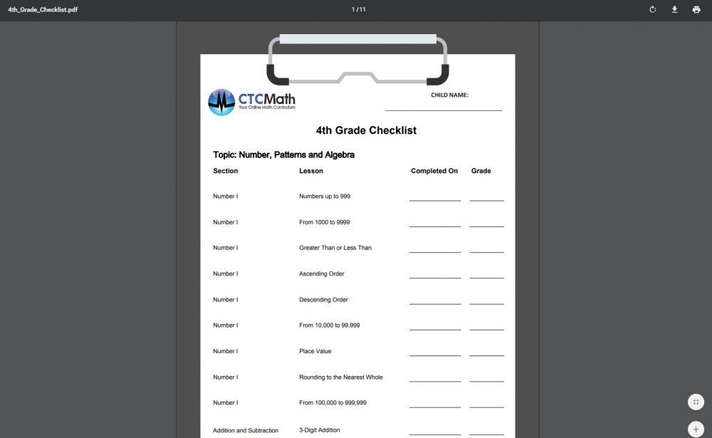CTCMath 4th Grade Checklist