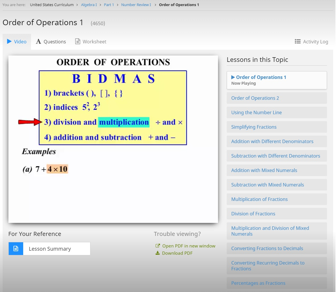 CTCMath Order of Operations Lesson from Algebra I