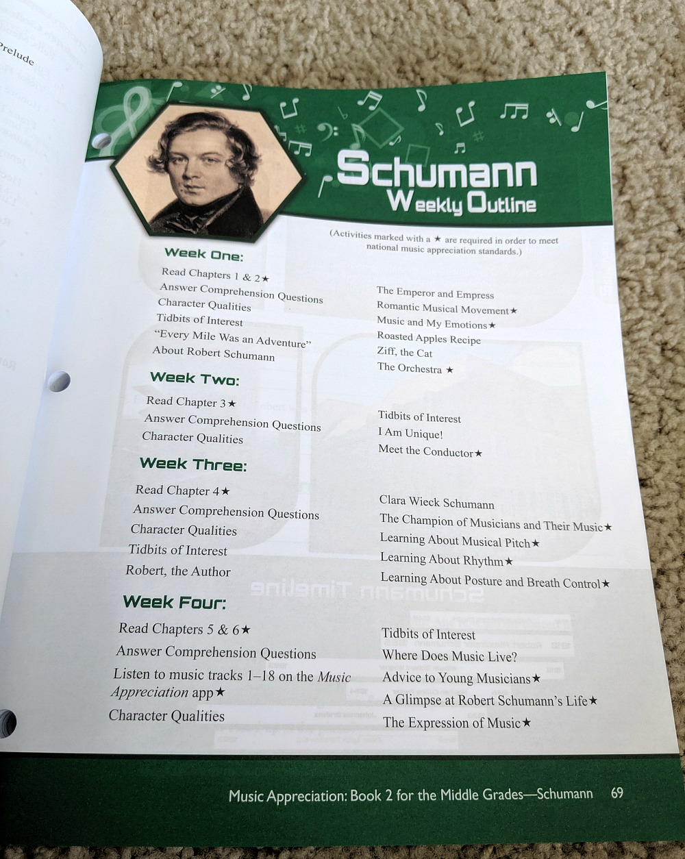 Music Appreciation Book 2 for the Middle Grades - Schumann Weekly Outline