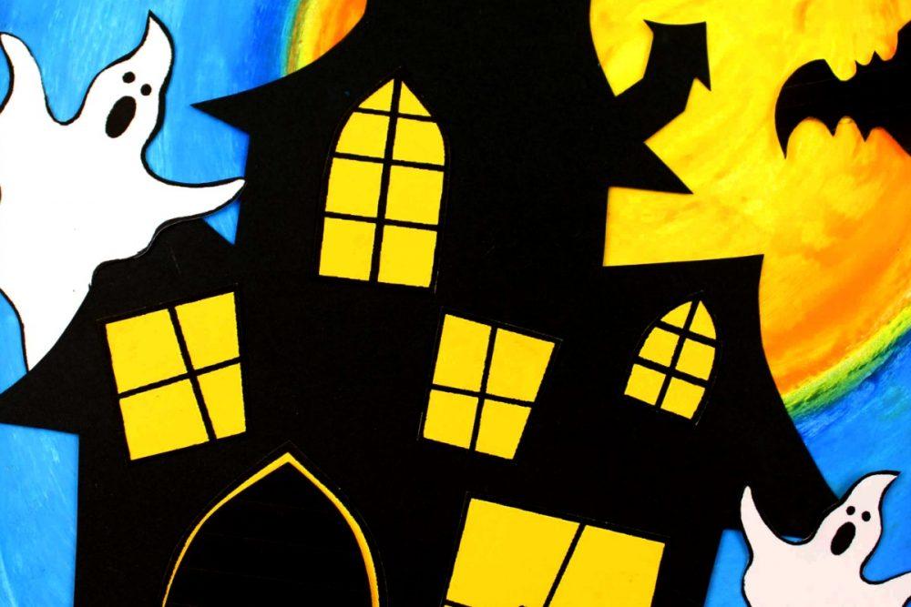 HALLOWEEN Oil Pastel Art - Haunted House Ghosts Bats - Spooky Fun