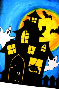 HALLOWEEN Oil Pastel Art - Haunted House Ghosts Bats - Spooky Fun