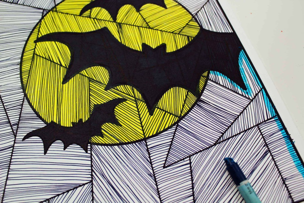Line Study BAT Themed Art Project Color it in