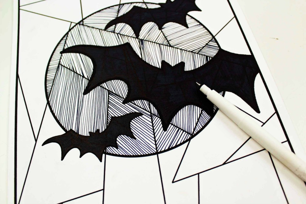 Line Study BAT Themed Art Project Drawing in the Lines Mix it Up