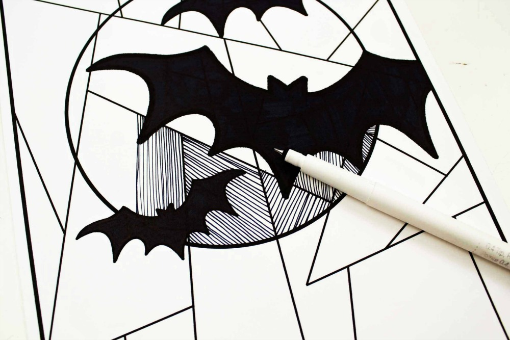 Line Study BAT Themed Art Project Drawing in the Lines