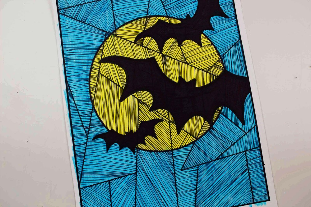 Line Study BAT Themed Art Project Finished Coloring