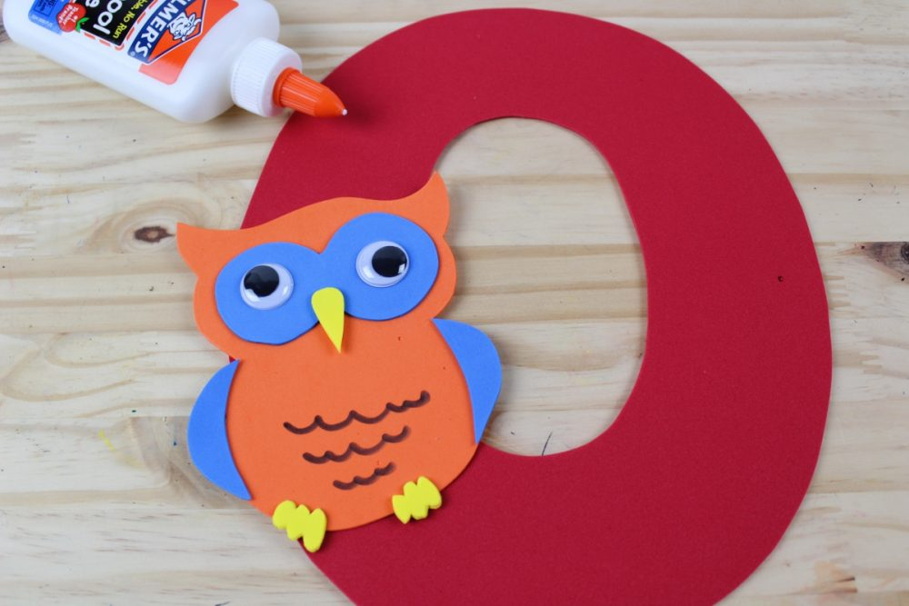 Letter O Craft - O is for Owl FInished